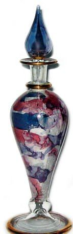 Green Marble Egyptian Blown Glass Perfume Bottles. Tears from Heaven.