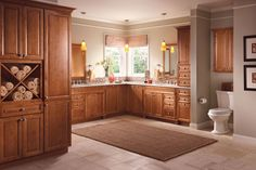 KraftMaid Bathroom - Knollwood Maple Square in Maple Praline casts a warm glow on this luxe transitional master bath. Kraftmaid, Traditional Bathroom, House, Big Bathrooms, Home, Just Cabinets, Cubby Storage, Kraftmaid Cabinets, Bathroom Design