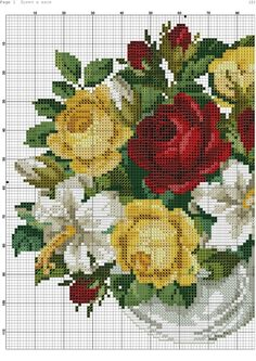 This Pin was discovered by Ser Cross Stitch Rose, Cross Stitch Flowers, Cross Stitch Charts, Cross Stitch Designs, Cross Stitch Patterns, Cross Stitching, Cross Stitch Embroidery, Hand Embroidery, Red And Pink Roses