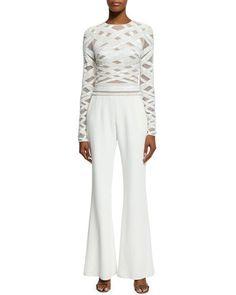 ZUHAIR MURAD Long-Sleeve Embellished-Top Jumpsuit, White. #zuhairmurad #cloth #