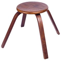 Mid-Century French Wood Stool, Dark Wood Grain and Bentwood Legs, 1950s | From a unique collection of antique and modern stools at https://www.1stdibs.com/furniture/seating/stools/