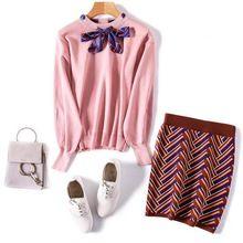 Moda Duas Peças Set Conjunto Vestido Novo Senhoras Temperamento Arco Camisola de malha + Pacote de Hip Saia Terno Feminino O-pescoço Top 4934(China (Mainland))