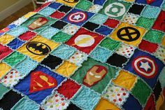 Superhero Rag Quilt / Blanket Crib Size by handmadebykep on Etsy