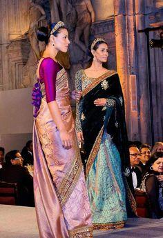 Sabyasachi Vasanthlaximi Kanjiveram Saree from London Fashion Show. Love the bright fuchsia blouse with the saree. Indian Attire, Indian Wear, Indian Style, Indian Ethnic, India Fashion, Asian Fashion, London Fashion, Indian Dresses, Indian Outfits