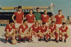 September 1968: Hibernians Malta 0, United 0; United won 4-0 on aggregate. Back Row, left-to-right: Back row: Brian Kidd, Nobby Styles, Alex Stepney, Bobby Charlton, Pat  Crerand. Front row: George Best, Bill Foulkes, Denis Law, Francis Burns, David Sadler, Tony Dunne