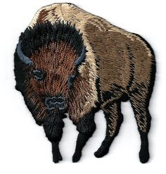 Buffalo - Bison - Brown - Embroidered Iron On Applique Patch - L #Unbranded