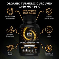 Amazon.com: Organic Turmeric Curcumin Capsules 1460 mg  Best Pain Relief & Joint Support Black Pepper Organic Turmeric Supplement Pills with Curcuminoids & Ginger Powder Bundle  120 Anti-inflammatory Tablets: Health & Personal Care