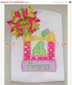 ON SALE Bounce House Birthday Applique by kitkatbowsandclothes