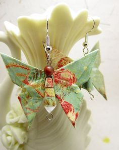 Origami Butterfly Earrings, Origami Jewelry, Japanese Earrings, Asian Earrings, Geisha Earrings, Kimono Jewelry, Handmade Paper…