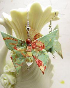 Wallflower Origami Butterfly Earrings Handmade Paper Jewelry