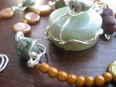 Necklace silver  jade pendant agate and glass by NewAgeBOHO, $69.99