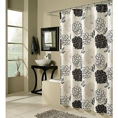 M Style Summer Garden Shower Curtain - Discover home design ideas, furniture, browse photos and plan projects at HG Design Ideas - connecting homeowners with the latest trends in home design & remodeling Black White Shower Curtain, Floral Shower Curtains, Black Curtains, Garden Shower, Shower Curtain Hooks, Summer Garden, Beautiful Bathrooms, Bedding Shop, House Design