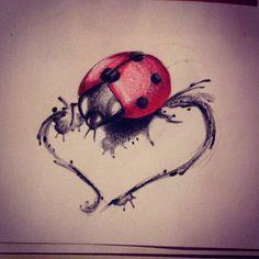 tattoo #tattoos #draw #watercolor #heart #ladybug ladybugs #bug #bugs ...