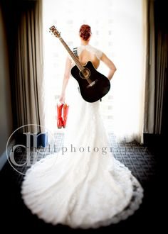 Awesome Photo! Black guitar, White dress, Red cowgirl boots. \\ Photo Credit: Darnall Photography #rockinwedding #redwedding #roguebride Red Cowgirl Boots, Red Boots, Dress Red, White Dress, Fiery Red, Photo Black, Red Wedding, Wedding Dreams, Color Combinations
