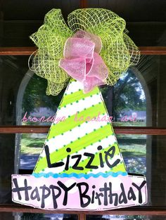 Birthday Hat Door Hanger - Bronwyn Hanahan Original. $50.00, via Etsy.