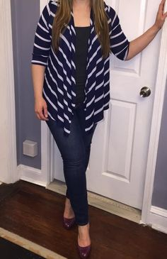 "41 Hawthorn Addison Striped Knit Cardigan. I typically never wear stripes but I'm loving Navy and have seen this on. It looks very flattering. The length might also work for my 5'1"" height"