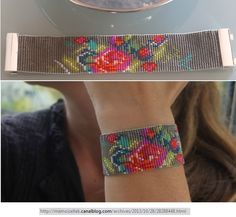 loom beaded floral bracelet Bead Loom Bracelets, Beaded Bracelet Patterns, Bead Loom Patterns, Beading Patterns, Beaded Jewelry, Jewellery, Beading Projects, Beading Tutorials, Loom Beading
