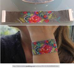 loom beaded floral bracelet