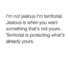 I'm not jealous. It's not possible to be jealous about something that's rightfully belongs to you in the first place.