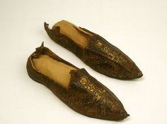 Pair of Shoes, partly gilded leather.  6th century CE (Byzantine Empire).  In the Walters Art Gallery, Baltimore, MD, USA.