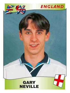 Gary Neville of England. Euro 96, European Championships, Coming Home, England International, Cards, Maps, Playing Cards