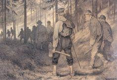 Theodor Kittelsen - Tolv Mand I Skoge (Twelve men in the Forest) Goblin, Troll, Vikings, Fairy Tales, Romantic, Concept, Classic, Painting, Men