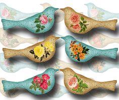 Gorgeous Shabby Chic Love Birds Printable Collage door thephotocube