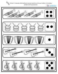 Hudební nástroje - pracovní list, předškoláci