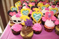 Monster High cupcakes with handmade cupcake toppers.