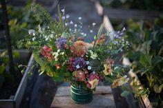 Nasturium, parsley flowers, crabapples, scented geraniums, dock, cilantro flowers, allium, feverfew, roses, dahlias, campanula, rye, cardoon flowers, butterfly snapdragons, baby's breath