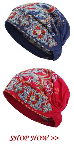 US$12.99 Only! Women Embroidery Ethnic Cotton Beanie Hat Vintage Good Elastic Breathable Summer Turban Caps.Red and Blue Colors for Options.#hat#fashion#Embroidery