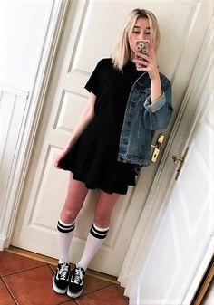 467c1334ddc Denim jacket with black dress, long socks & Vans shoes by a.ngelsupreme  Jeans
