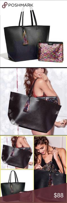 Make an offer Victoria Secret Limited Edition tote Limited Edition Victoria Secret Tote. Sequin Pouch. Victoria's Secret Bags