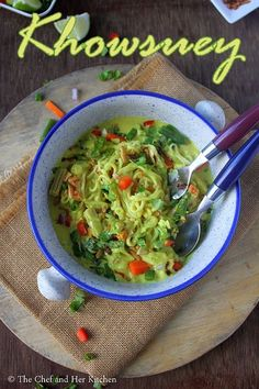 Vegetarian Burmese Khowsuey Recipe with step by step photos .Sometimes we fall in love with few dishes at the very first bite and this B. Indian Food Recipes, Vegetarian Recipes, Ethnic Recipes, Khow Suey Recipe, First Bite, Burmese, Guacamole, Meals, Dishes