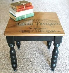 Love this idea to refinish my sturdy, but boring, old tables.