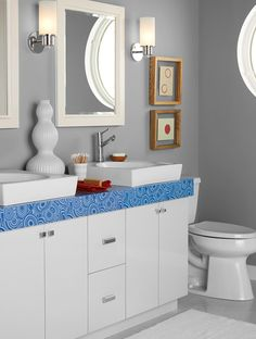 As at home in the bathroom as the kitchen, the visually-engaging Blue Malachite design lines this countertop. Photo 5 of 7 in The Formica Corporation and Jonathan Adler Collaborate on a New Line of Vibrant Laminates by Luke Hopping