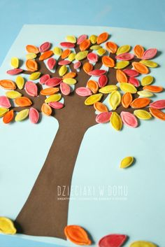 Pumpkin seed fall tree craft for kids / Jesienne drzewko z pestek dyni - praca…