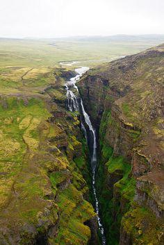 Waterfall Glymur,  Iceland.