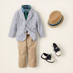 your little guy will be absolutely dapper in this cute spring look! our cotton striped blazer, chinos and plaid shirt have just the right amount of prep and polish. we finish the look with retro-inspired hat and shoes.