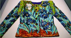 Hubert Barrere beading/embroidery on a Saint Laurent jacket, Van Gogh inspired irises. (must see up close)