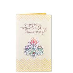 Greeting Card On Wedding Anniversary Congratulations On Your Wedding Anniversary. When something grows so beautifully, when it blooms in every season when it brings new joys year after year, then love must be the reason. May your marriage be blessed with happiness, love and companionship for all the years to come Wishing You. | Rs. 160 | Shop Now | https://hallmarkcards.co.in/collections/anniversary/products/congratulations-on-anniversary-greeting-cards