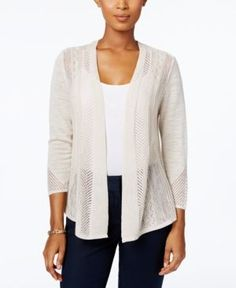 Charter Club Petite Pointelle Open-Front Cardigan, Only at Macy's - Tan/Beige P/XL