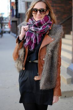 Leather, fur, scarf = LOVE