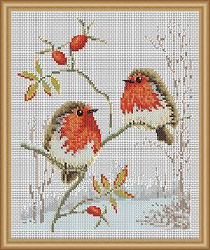 Winter Robins Cross Stitch Patterns - Instant Download