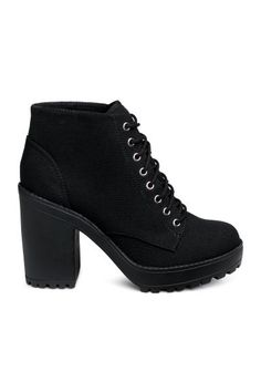 Canvas platform boots with lacing at top. Fabric lining and rubber soles. Front platform height 1 in., heel height 4 in. Black Platform Boots, High Heel Boots, Black Boots, Heeled Boots, High Heels, Shoes Heels, Platform Boots Outfit, Jeans Shoes, Shoes Uk