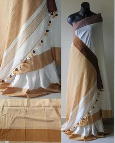 Lovely Combination of white & Cream coloured Handloom Khadi Cotton Saree