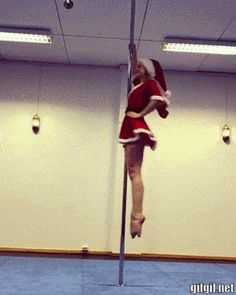 Girl Santa Claus on rod Pole Dance Moves, Pole Dancing Fitness, Pole Fitness, Funny Images, Funny Pictures, Tango, Pole Tricks, Pole Art, Gymnastics Videos