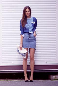 denim skirt, patchwork denim shirt, color block denim, Fashion Agony blog