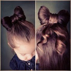 If you're tired of ordinary ponytails. This fun, easy way to little girl's hairstyle and step-by-step video tutorial for a hair bow bun is for you! Girl Haircuts, Little Girl Hairstyles, Bun Hairstyles, Pretty Hairstyles, Hairstyle Ideas, Updo Hairstyle, Wedding Hairstyles, Fashion Hairstyles, Holiday Hairstyles