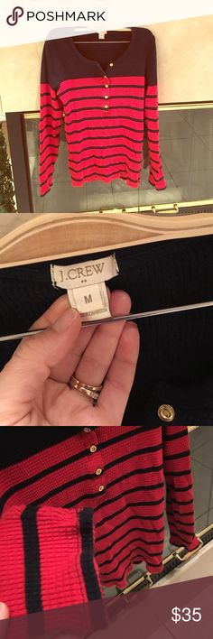 J. Crew stripped Henley Gold button down! J. Crew stripped Henley like new J. Crew Factory Tops Tees - Long Sleeve